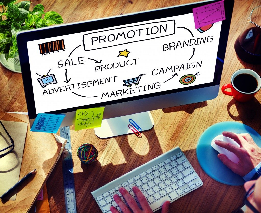 Promotion Advertisement word map concept on computer