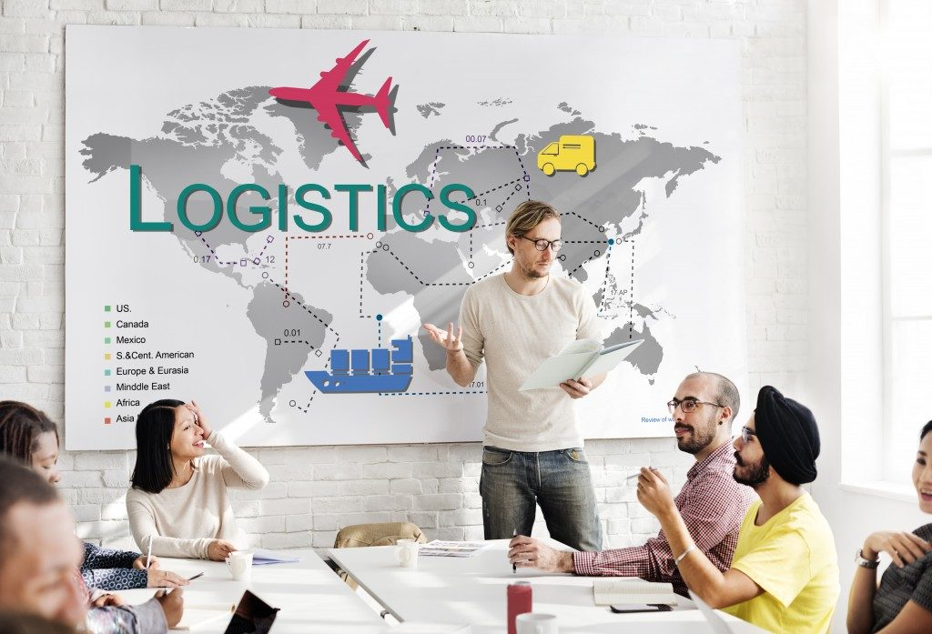 man explaining logistics