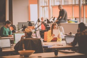 Diverse employees in a coworking office