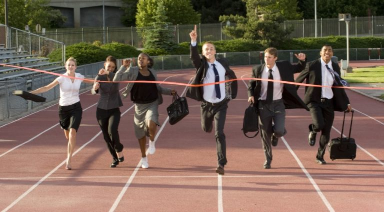 employees reaching the finish line