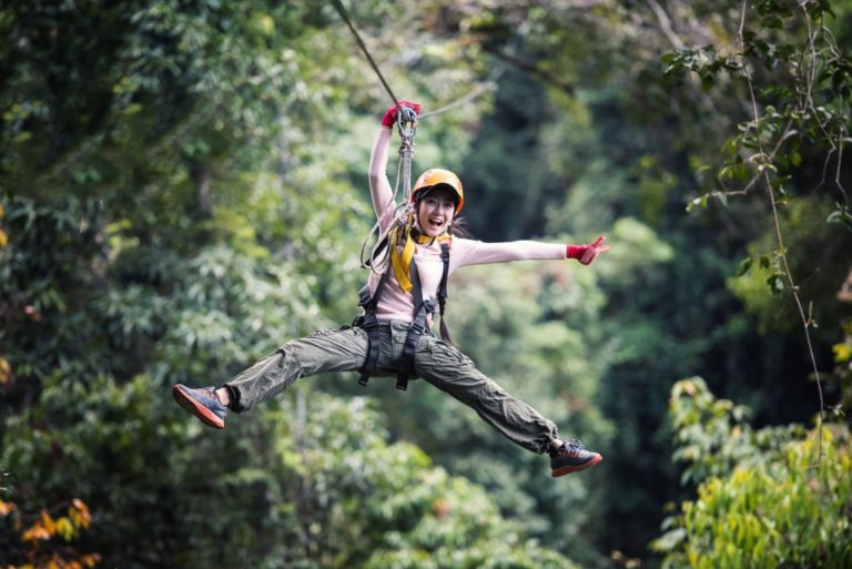 woman on a bungee cord
