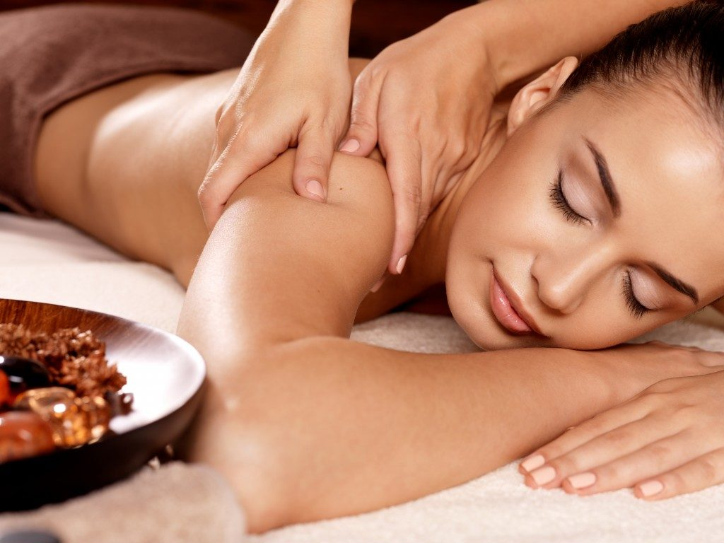 Woman getting massage at the spa