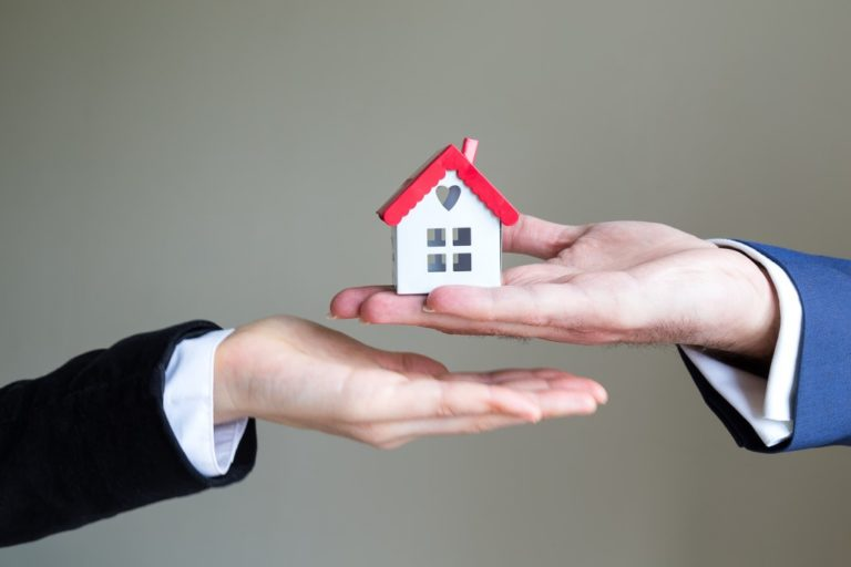 hand holding a house model