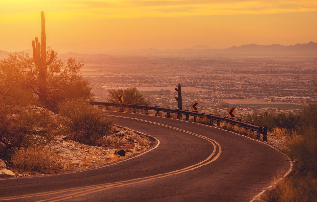road in Phoenix at dawn