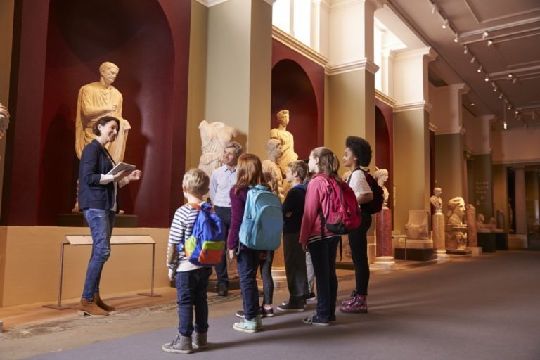 tour guide in a museum